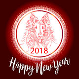 Chinese New Year 2018 festive vector card Design with cute dog, zodiac symbol of 2018 year Translation of text on stamp. Chinese New Year 2018 festive vector Stock Photography