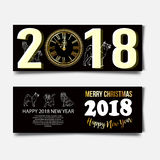 Chinese New Year 2018 festive vector card Design with cute dog, zodiac symbol of 2018 year Translation of text on stamp. Chinese New Year 2018 festive vector Royalty Free Stock Photo