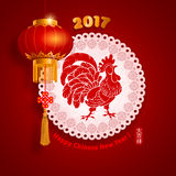 Chinese New Year. Festive vector card Design with stylized rooster, zodiac symbol of 2017 year (Chinese Translation on stamp : wishes of good luck stock illustration