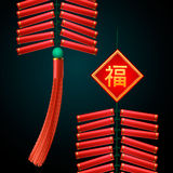 Chinese New Year firecrackers ornament. On black background, vector illustration. Attached image Translation - Happy New Year Royalty Free Stock Photography