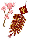 Chinese New Year Firecrackers with Spring Flowers Stock Photo