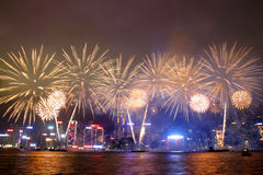 Hong Kong : Chinese New Year Fireworks 2013. Thousands will line both sides of iconic Victoria Harbour on Chinese New Years Eve to witness Hong Kong ushering in Royalty Free Stock Photo