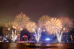 Hong Kong : Chinese New Year Fireworks 2013. Thousands will line both sides of iconic Victoria Harbour on Chinese New Years Eve to witness Hong Kong ushering in Royalty Free Stock Photos