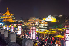 Chinese New Year first night in gaily-painted pleasure-boat wharf royalty free stock images
