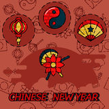 Chinese New Year flat concept icons Stock Photography