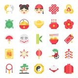 Chinese new year flat cute icon, 128 px on grid system set 2/2 stock illustration