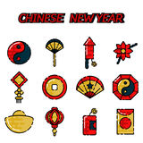 Chinese New Year flat icon set Stock Images