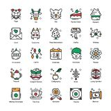 Chinese New Year Flat Icons Set royalty free illustration