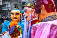 Chinese New Year, folk beliefs in Taiwan, the Lantern Festival temple parade, a huge god even, royalty free stock photo