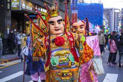 Chinese New Year, folk beliefs in Taiwan, the Lantern Festival temple parade, a huge god even, royalty free stock images