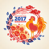 Chinese New Year Frame with Crowing Rooster. Chinese 2017 New Year Creative Concept Frame with Crowing Rooster, Clouds and Peony Flowers. Vector illustration Stock Photo