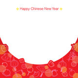 Chinese New Year Frame With Outline Icons. Traditional Celebration China Happy Chinese New Year Stock Images
