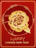 Chinese new year gift card with golden peony form camellia flowe. R on the dragon scale background vector illustration royalty free illustration