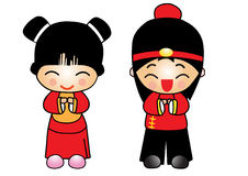 Chinese new year  girl and boy Stock Images