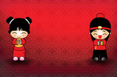 Chinese new year  girl and boy Royalty Free Stock Photography