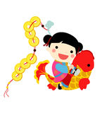 Chinese new year - girl Royalty Free Stock Images