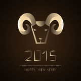 Chinese new year of the goat 2015. Golden ram. Vector illustration Stock Photos