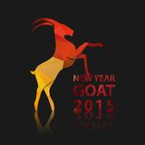 Chinese New Year 2015 of goat. Vector EPS10. Chinese New Year 2015, goat animals silhouette with golden red geometric on the isolated black pattern. Vector Royalty Free Stock Photo