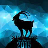 Chinese New Year 2015. Year of the Goat. Vector illustration. Black goat silhouette on shining geometric background Stock Images