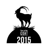Chinese New Year 2015. Year of the Goat. Vector illustration. Black goat silhouette on white background Stock Photography