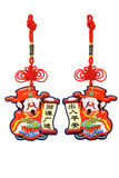 Chinese new year God of Prosperity ornaments. Pair of Chinese new year God of Prosperity ornaments on white