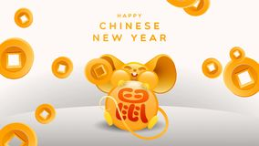 Chinese new year 2020 gold fortune rat animation