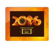 Chinese new year 2016 with gold geometrical monkey on tablet Royalty Free Stock Image