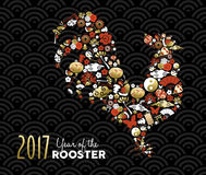 Chinese new year 2017 with gold icons as rooster. Happy Chinese New Year of the Rooster 2017, greeting card design made of asian culture icons in gold and red Royalty Free Stock Image