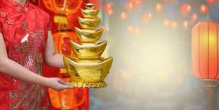 Chinese new year gold ingot royalty free stock image