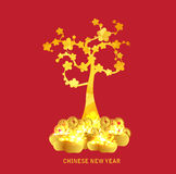 Chinese New Year golden coin and gold tree background Stock Photo