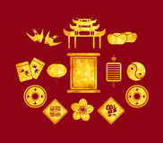 Chinese New Year golden geometrical Icons Royalty Free Stock Photography