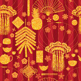 Chinese New Year golden glitter seamless pattern. This illustration is design and drawing bright golden glitter with Happy Chinese New Year element on stripe Stock Image