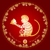 Chinese New Year Golden Monkey Background. Chinese New Year Golden Monkey on Red Background Stock Photo