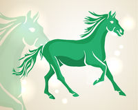 Chinese New Year 2014 green running horse. Chinese New Year of 2014 running green horse side view over lights background. EPS10 vector file with transparency Vector Illustration
