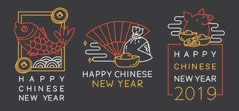 Chinese New Year greeting badges vector illustration