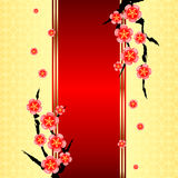 Chinese New Year Greeting Card. With Cherry Blossom
