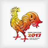 Chinese new year greeting card with colorful rooster. Vector illustration Stock Photos