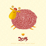 Chinese New Year greeting card  with curly sheep. Chinese characters meaning: happiness Royalty Free Stock Photography