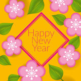 Chinese New Year - Greeting card design. With flowers and leaves Royalty Free Stock Photography