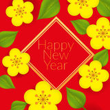 Chinese New Year - Greeting card design. With flowers and leaves Stock Images