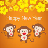 2016 Monkey Chinese New Year - Greeting card design Stock Photography