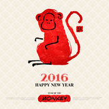 Chinese New Year Greeting Card with Hand Drawn. Monkey. Symbol of 2016 New Year. Vector illustration. Hieroglyph in box translation: monkey. Watercolor and Royalty Free Stock Photos