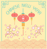 Chinese new year. Greeting card. Holiday - chinese new year. Icon in the linear style stock illustration