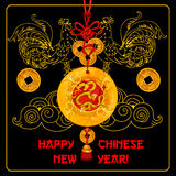 Chinese New Year greeting card with knot ornament Royalty Free Stock Photos