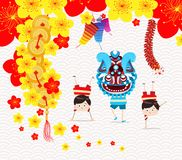 Chinese new year greeting card. Lion Dance Stock Image