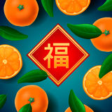 Chinese New Year greeting card, with mandarines. Chinese New Year greeting card, with orange mandarines background, vector illustration. Attached image Royalty Free Stock Image