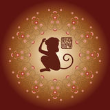 The Chinese new year greeting card. New year greeting card, the Chinese monkey year Stock Photo