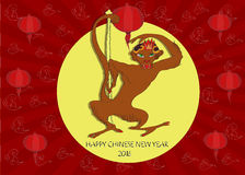 Chinese 2016 New Year greeting card. With Monkey and chinese lanterns.  illustration. Season Greetings Stock Photography