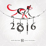 Chinese new year greeting card with monkey. Vector illustration Stock Photography