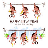 Chinese new year greeting card with monkeys on branch with bananas. Vector illustration Royalty Free Stock Photos